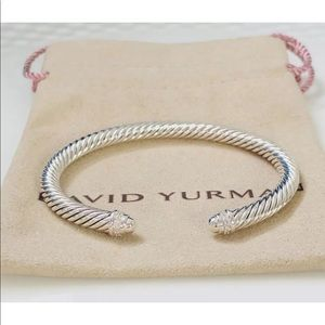 DY 5mm silver dome &diamond Bangle Sz Medium